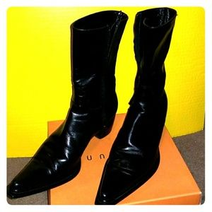 Kenneth Cole Mid Calf leather black boots